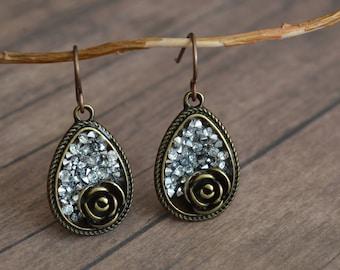 Vintage Style Earrings, Elegant Earrings, Gift Idea, Gift For Her, Rhinestone Earrings, Romantic Earrings, Chic Earrings, Bridal Jewelry
