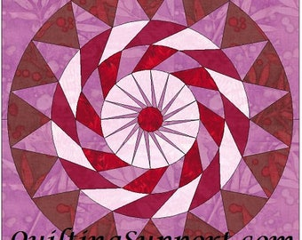 Cherry Pie Circle 10 Inch Paper Piece Foundation Quilting Block Pattern PDF