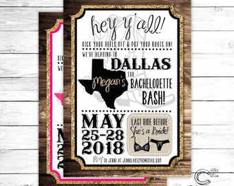 Gold Glitter Dallas Bachelorette Party Invitation