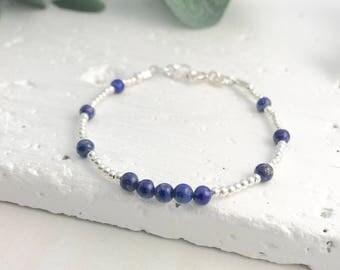 Dainty Lapis Lazuli Bracelet, Thin blue bracelet, stacking bracelet, sterling silver, Lapis Lazuli Jewellery, Gemstone Bracelet