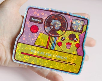 Peek-At-You, Pikachu Polaroid Camera Holographic Sticker