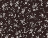 Black White Floral Print Cotton Calico Fabric / One yard