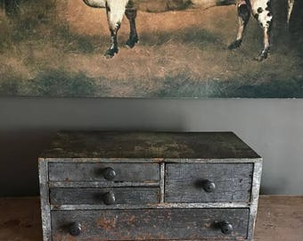 Old Antique Primitive Apothecary Drawers with Grungy Blue Paint