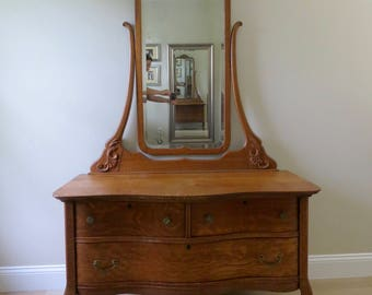 Antique Tiger Oak Dresser with Tall Mirror - Claw Foot Serpentine Dresser