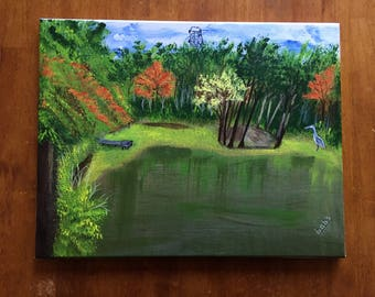 Landscape Painting of Three Lakes Park  with Blue Heron near Richmond, Virginia