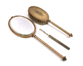 Gold Vanity Mirror Set with Hand Mirror, Brush & Nail Pick by Apollo, Antique Vanity Set for Her