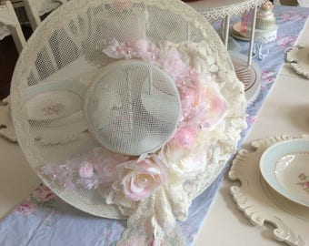 Romantically Shabby Sparkling Roses w/  Lace Hat