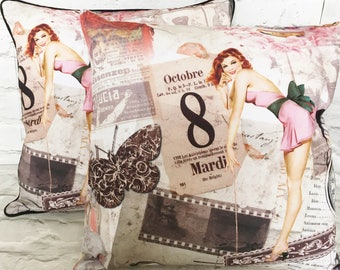 Pin-up girl cushion pillow cover - 18in 45cm  - housewarming gift -retro home decor -  vintage home decor