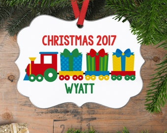 Christmas Ornaments for boys - Personalized Train Christmas Ornament for kids
