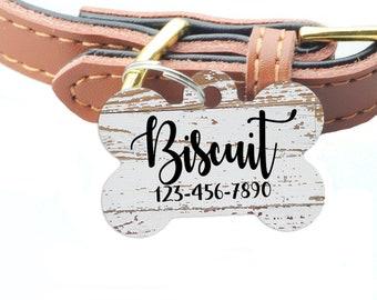 Wood Grain Pet ID Tag - Weathered Wood Pattern Custom Dog Name Tag
