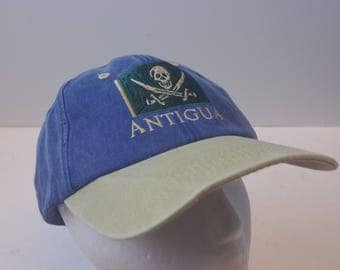 ANTIGUA Denim pirate flag hat cap 90s beach ship dad hat