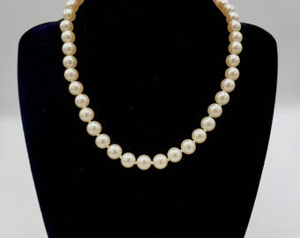"Blush Color 16"" long Single Strand Faux Pearl Necklace."