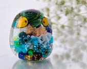 Blue, Green, Yellow Aquarium Lampwork Glass Bead with Little Funny Fish and a Jellyfish Inside.