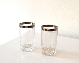 Vintage Silver Rim Shot Glasses /1950's Mid Century Set of 2 Mad Men Style Vintage Antique Silver Rim Shot Glasses / Silver Schnapps Glasses
