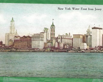 Vintage Postcard - New York City and The Water Front as seen from Across the Hudson River in Jersey City, New Jersey  (2840)
