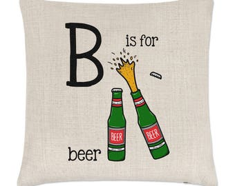 Letter B Is For Beer Linen Cushion Cover
