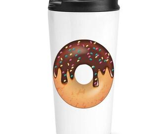Chocolate Sprinkled Glazed Doughnut Travel Mug Cup