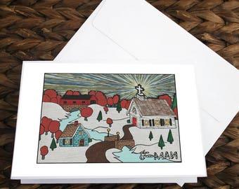 Set of 5 Winter Wonderland  5x7 Christmas Cards Mixed Media Outsider Folk Pop Art Painting