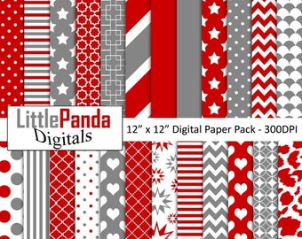 60% OFF SALE Red and gray digital paper, scrapbook papers, wallpaper, background, commercial use - D460