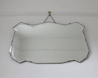 Vintage  wall mirror with decorative edge - frameless mirror - wall mirror - bedroom mirror - hallway mirror - bathroom mirror