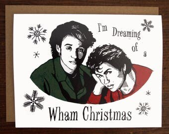 Wham Christmas/Merry Christmas/Holiday Card/Linocut
