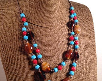 Glass Beaded Double Strand Necklace Hand Knotted Turquoise Red Brown