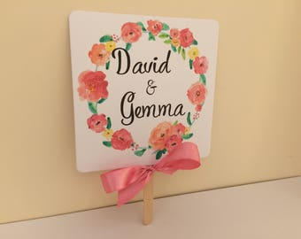 Personalised wedding fans favours gifts