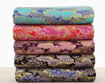 110cm/ 43 inch Width,  Flower Floral  Cotton Fabric, Half Yard