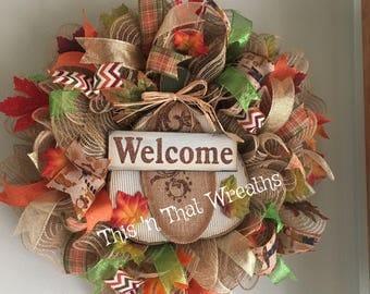 Welcome Fall Pumpkin Autumn Harvest Mesh Decomesh Door Wreath