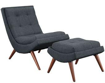 Raj Upholstered Chair and Ottoman