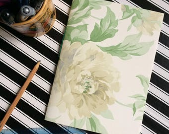 Hand Bound Blank A5 Notebook - White Rose Floral Design on Cream with Rich Green Binding - 3 Hole Pamphlet Stitch - Recycled Wallpaper