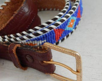 Beaded Leather Native American Indian Belt - Adult Size - Brass Buckle - Mid Century Men's or Women's Clothing Accessory - Beaded Belt