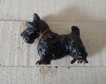 Composition Black Scottie Dog - Scottish Terrier Vintage Dog Figurine - Dog Collectible - 1930s Scottie Dog - Scottie Terrier Dog Lover Gift