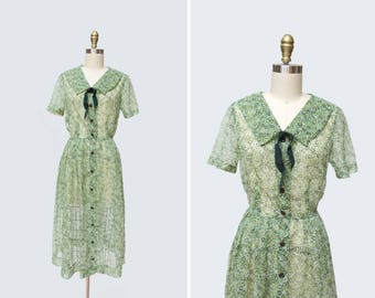 1950s Green Acres Dress { M } Sheer Farm Dress