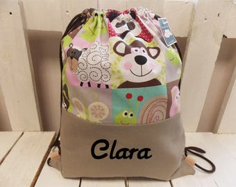 Personalized kids backpack with animals, choose the name