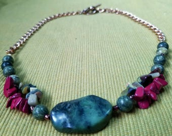 Franconia 2: princess length stone bead bib necklace featuring red & moss jasper, marble, and russian jade