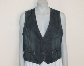 Women Vest Denim Vest  Blue Denim Women's Vest Fitted Denim Vest  Waistcoat Metal Buttons Womens Country Western Boho Jean Jacket Large Size