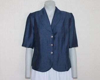 Vintage Blazer Linen Blend Blazer Navy Blue Blazer Women's Blazer Short Sleeve Suit Collar Button up Jacket  Linen Jacket Medium size