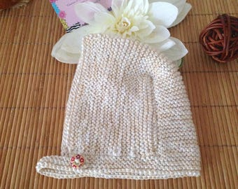 Retro/vintage cream beige cotton Hat baby bonnet Hat