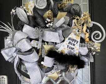 New Year's Wreath, New Year's Eve Party Decoration, Front door Wreaths, Deco Mesh Wreath, Door Hanger, Happy New Year, Whimsical