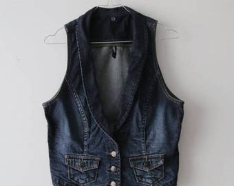Denim Button Up Vest Women Denim Vest Romantic Vest Dark Blue Vest Jeans Waistcoat Medium Size Vest