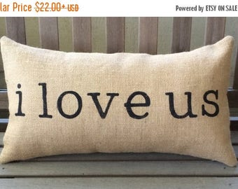 "SALE i love us Burlap Pillow Cover - Fits a 12"" x 22"" pillow insert"