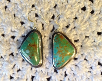 Green Turquoise with Matrix Earrings