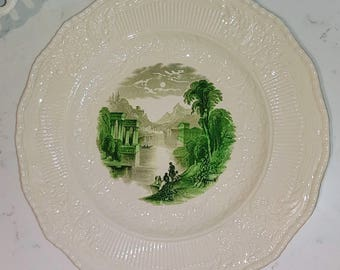 Vintage Royal Doulton England, Vimy plate, Green transfer ware, embossed, collector plate, river bank scene,