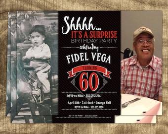 60th Birthday Invitation, Birthday invitations for men, Birthday invite for Dad, Men's Birthday Invite, Surprise Party Invitation, Masculine