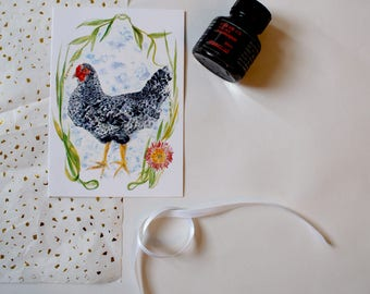 Watercolour Chicken A6 Blank Greeting Card