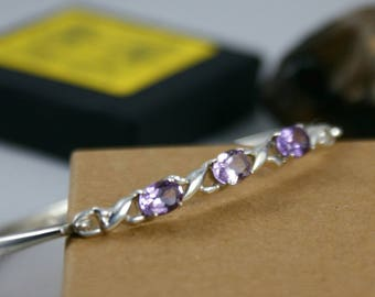 Celtic Design Sterling Silver Amethyst Bangle - Stylish Faceted 3 Stone Bangle - Amethyst Jewellery - Febuary Birthstone