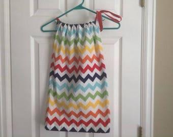 Girls multi colored rainbow chevron pillow case dress cotton