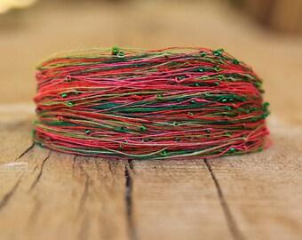 Colorful Bracelet, Summer Linen Jewelry, Green Pink Red Bracelet