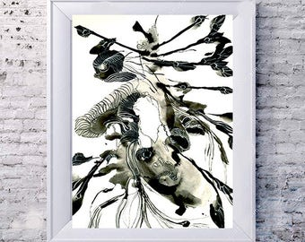 abstract flower Black and White  Ink drawing- abstract , Contemporary abstract flower drawing, contemporary black and white ink drawing